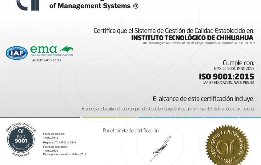 certificación iso 9000 en educación